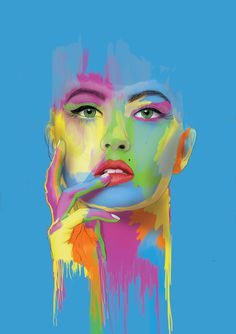 Mixed Media Illustrations 2014 on Behance #girl #head #hand #paint #illustration #portrait #poster #colour #multicolour