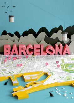 Barcelona Map 3D Paper Craft by Anna Härlin | strictlypaper #map #illustration #barcelona