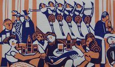 Flight+-+Cafe+Chantant.jpg 1,000×588 pixels #print #arts #illustration #linocut #fine