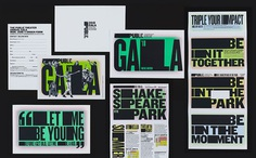 Posters, signage, website, t-shirts, tote bags and newspaper advertising by Pentagram's Paula Scher for The Public Theatre's Shakespeare in the Park 2018