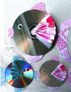 Cute CD Upcycled Fish #diy #fish #sea