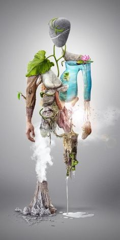 NatureMan - Digital illustration on the Behance Network #photo #illustration #nature #manipulation #composite #man