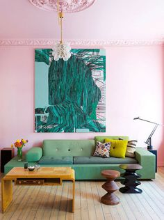 pink living room elle decor espana #interior design #decoration #decor #deco