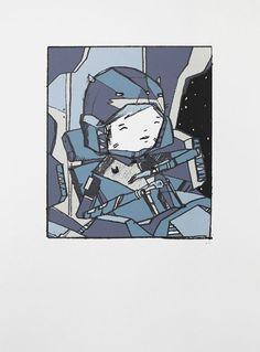 Ghost Patrol #ghost #krap #print #patrol #shapes #space #black #artwork #screen #stupid #handmade #minimal #art #purple #blue