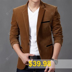 2019 #New #Autumn #Fashion #Trend #Casual #Corduroy #Solid #Color #Button #Slim #Suit