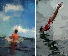 art, fine art, swimming, swim