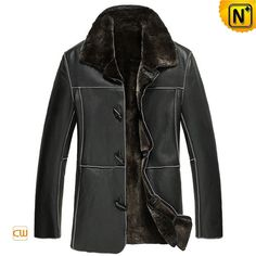 Mens Black Shearling Sheepskin Coat CW878574 #sheepskin #shearling #coat