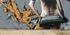 Erotic looking woman on graffiti street art