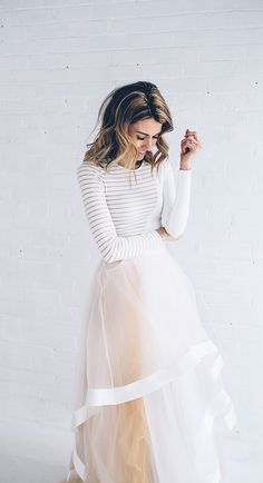 Sheer + Striped Top and tulle skirt #skirt #woman #tulle