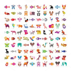 Animal icon set #giraffe #owl #cat #monkey #set #elephant #ape #illustration #camel #panther #lemur #zebra #hyena #deer #lion #butterfly #elk #kangaroo #dog #crocodile #ostrich #icon #fish #bird #koala #animal #parrot #rhinoceros #horse #whale #multiple #rhino #panda