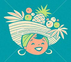 Woman Wearing Fruit Hat Royalty Free Stock Vector Art Illustration #logo #fruit