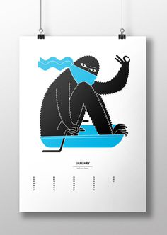 Calendart | http://calendart.nlCalendart is a calendar illustrated by 13 illustrators from all over Europe. Calendart is a project by #calendart #print #january #sled #poster #monster