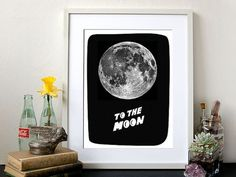 MOON Art Print Wall Art SPACE by littlejoisel on Etsy
