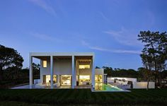 Portuguese Building With Double Height Portico Overlooking a Golf Course #architecture