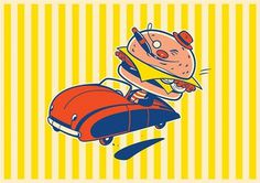 Timba's News Dept. #character #illustration #retro #burger