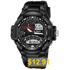 SYNOKE #67876 #Trendy #Waterproof #Multifunctionable #Men #Watch #- #BLACK