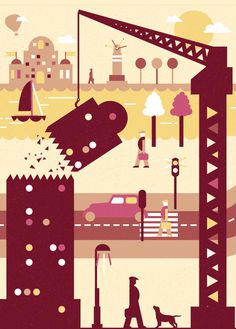 #illustrations #city #vector #poster #art #tpienczak #game #car #pepole #water #plane #man #street #streetart #western #horse #boat #bank #c