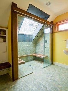 Studio III architects #vermont #studio iii architects #glass shower #tiled shower #bathroom storage