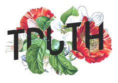 flowers, type, lettering, typography, overlap