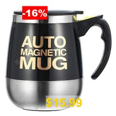 Stainless #Steel #Magnetic #Coffee #Mixing #Cup #Automatic #Belly #Magnetic #Stirring #Drinkware #- #BLACK
