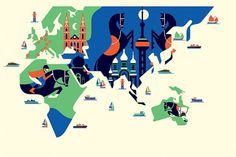 Malika Favre - The Black Harbor #horse #graphic #orange #geometric #map #illustration #blue #jockey #green