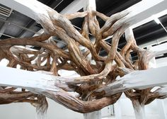 Baitogogo by Henrique Oliveira at Palais de Tokyo #wood #sculpture #environment #oliveira