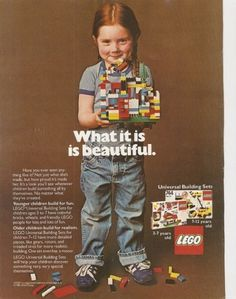 tell a story in the negative space and put the headline across. YES. #retro #lego #advertising