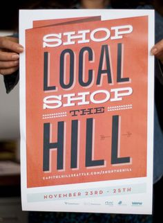 Shop The Hill #typography #poster #shop #hill #angle #fold