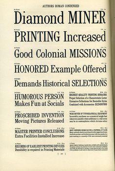 Author's Roman Condensed type specimen. #type #specimen #typography