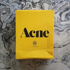 I love Acne Studios branding and packaging. It is exciting to get a yellow box (and then finding the classic pink envelope inside) #acne #branding