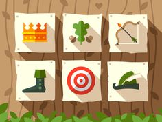 Robin hood #flat #crown #icon #robin #king #target #hat #bow #arrow #forest #hood #money