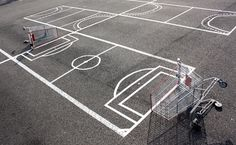 urban hacking from shopping carts to parking lots #street art #play #parking #shopping trolley #footbal