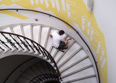 MacFadden & Thorpe #staircase #sign #painted #yellow #signage