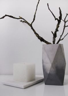 Marbled concrete vase by frauklarer