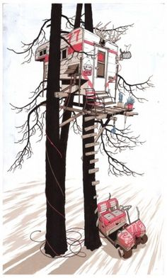 2008 | Adam Karig Haynes #stickfort #cavavan #treehouse #illustration #adam #painting #haynes