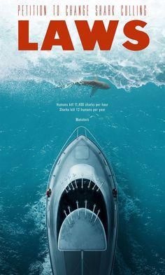 #poster #jaws #laws #redletter #ocean #boat #man #shark #monster #culling #petition