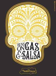 Latin Wagon: Gas #typography #skull #mexican #poster #simple