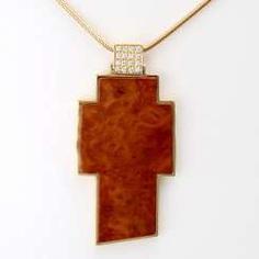 MAX KEMPER cross pendant made of briar wood