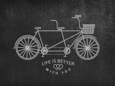 Tandem Bike #bicycle #positive #illustration #tandem #bike #type #love #typography