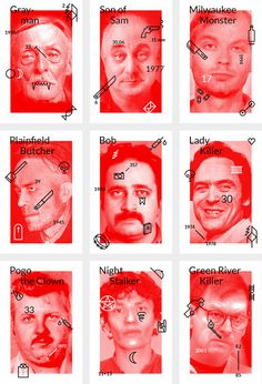 Inspectueurs - Tristan Bagot #red #stamps #design #graphic #art #serial #killers #typography