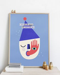 #nordic #design #graphic #illustration #danish #bright #simple #nordicliving #living #interior #kids #room #poster #spy #blue #head
