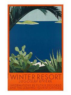 Vintage Art Deco Giclee Poster Print JUGOSLAV RIVIERA TRAVEL