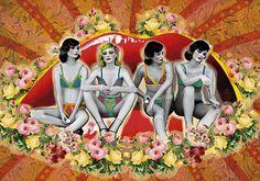 ESPERANDO AL AMOR | Peperina Magenta #creative #rojo #arte #amor #woman #color #pinup #boca #digital #ilustraciã³n #vintage #ilustration #art #collage #colour #love #work