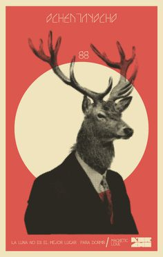 KORCHO #illustration #art #poster #moon #deer #dear #korcho
