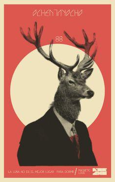 KORCHO #deer #korcho #illustration #poster #art #moon