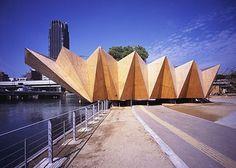 FFFFOUND!   ryuichi ashizawa architects: bamboo forest and huts with water #folds #wood #architecture