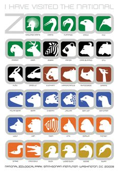 Nation Zoo Pictograms by Lance Wyman #icon #icons #icondesign #pictogram #pictograms #picto #symbol #sign #signage #animal #zoo #zebra #rhin