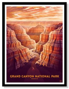 Grand Canyon National Park Poster. Love the layered colors, composition and atmospheric depth.