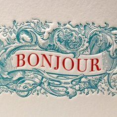 Bonjour Greeting Card in Blue/Red by letterpress on Etsy #serif #banner #letterpress #vintage