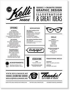 I love the business card and resume that Kelli Marie created for herself while she was a student.